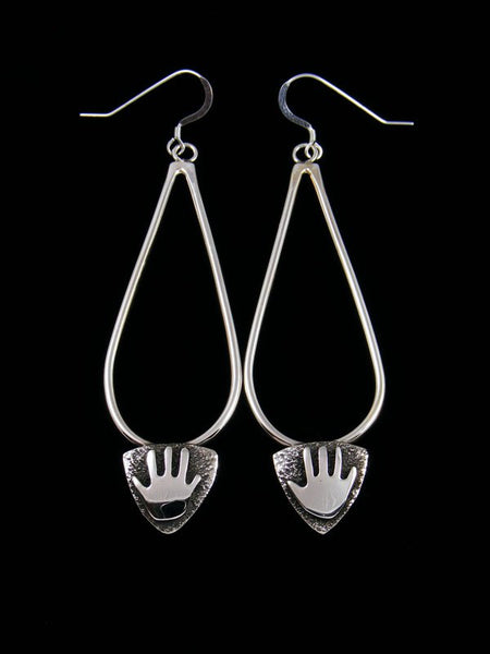 Navajo Sterling Silver Petroglyph Dangle Earrings