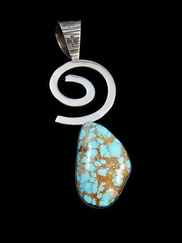 Navajo Sterling Silver and Royston Turquoise Sculpted Pendant