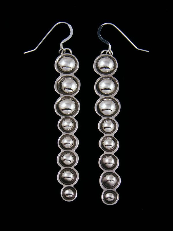 Navajo Sterling Silver Sculpted Dangle Earrings