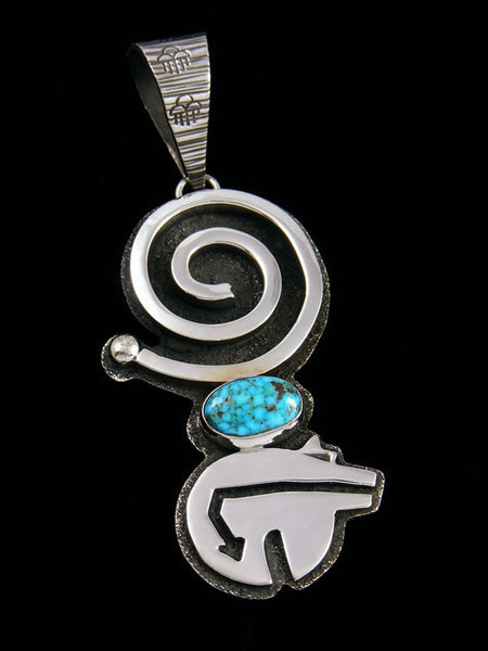Navajo Sterling Silver and Kingman Turquoise Sculpted Pendant