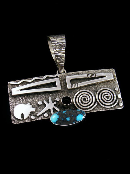 Navajo Sterling Silver and Cloud Mountain Turquoise Petroglyph Pendant