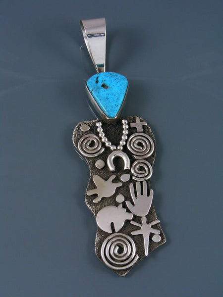 Navajo Sterling Silver and Kingman Turquoise Petroglyph Pendant