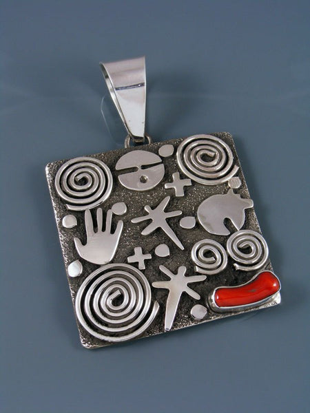 Navajo Sterling Silver and Red Coral Petroglyph Pendant