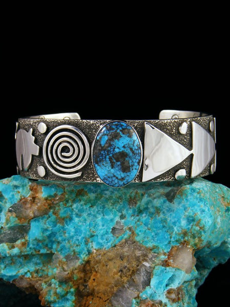 Navajo Sterling Silver Turquoise Petroglyph Cuff Bracelet