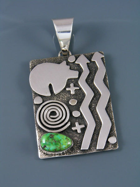 Large Navajo Sterling Silver and Sonoran Turquoise Petroglyph Pendant