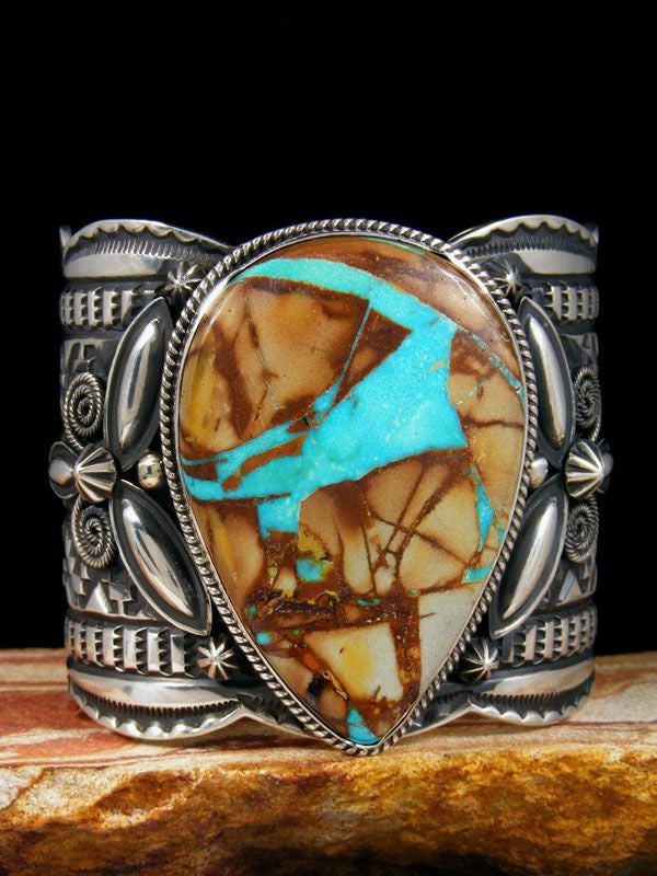 Native American Royston Ribbon Turquoise Bracelet by Andy Cadman - PuebloDirect.com - 1