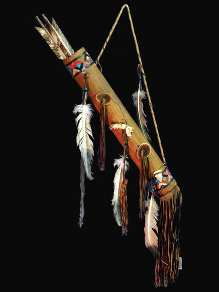 Deerskin Quiver with Arrows by Navajo Artist - PuebloDirect.com