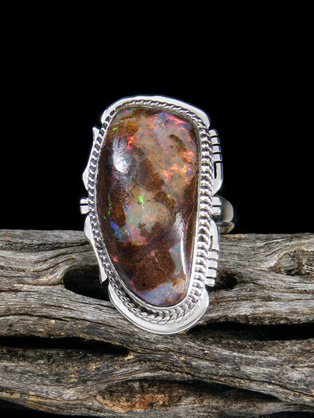Native American Boulder Opal Sterling Silver Ring Size 7