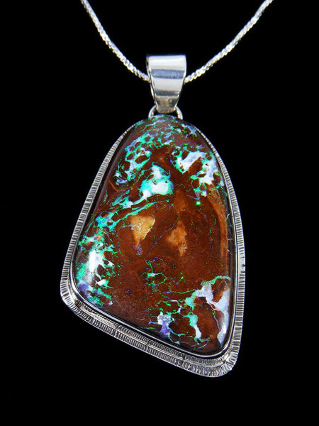Sterling Silver Native American Made Yowah Boulder Opal Pendant