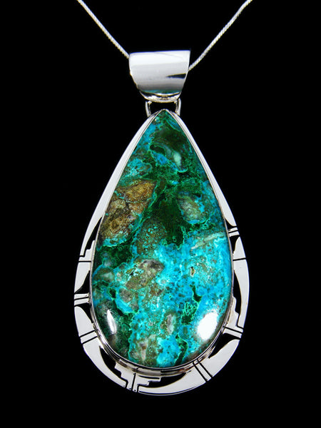 Native American Sterling Silver Chrysocolla and Malachite Pendant