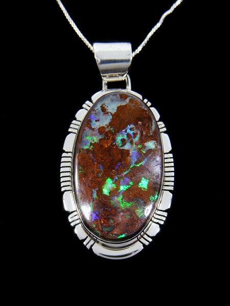 Native Sterling Silver Fiery Boulder Opal Pendant