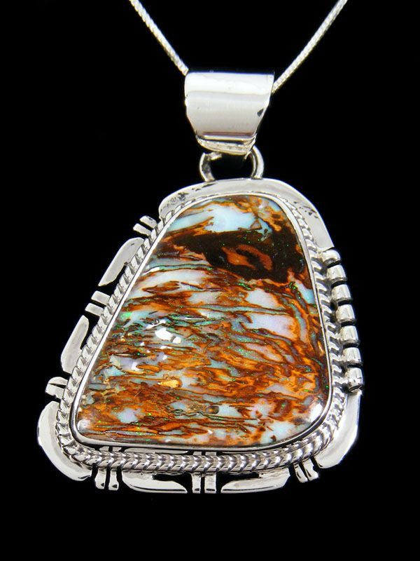 Native American Indian Jewelry Yowah Wood Replacement Boulder Opal Pendant by John Nelson - PuebloDirect.com