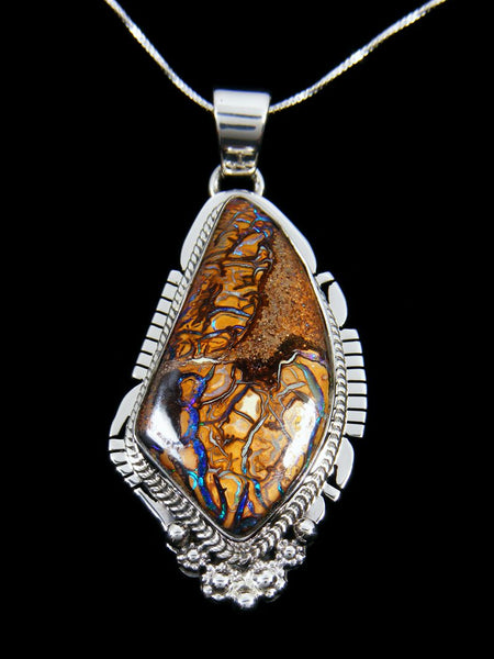 Native Made Sterling Silver Yowah Boulder Opal Pendant