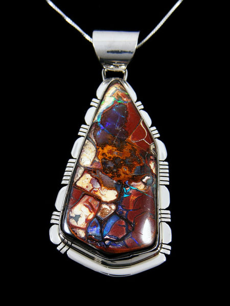 Sterling Silver Native Made Yowah Boulder Opal Pendant