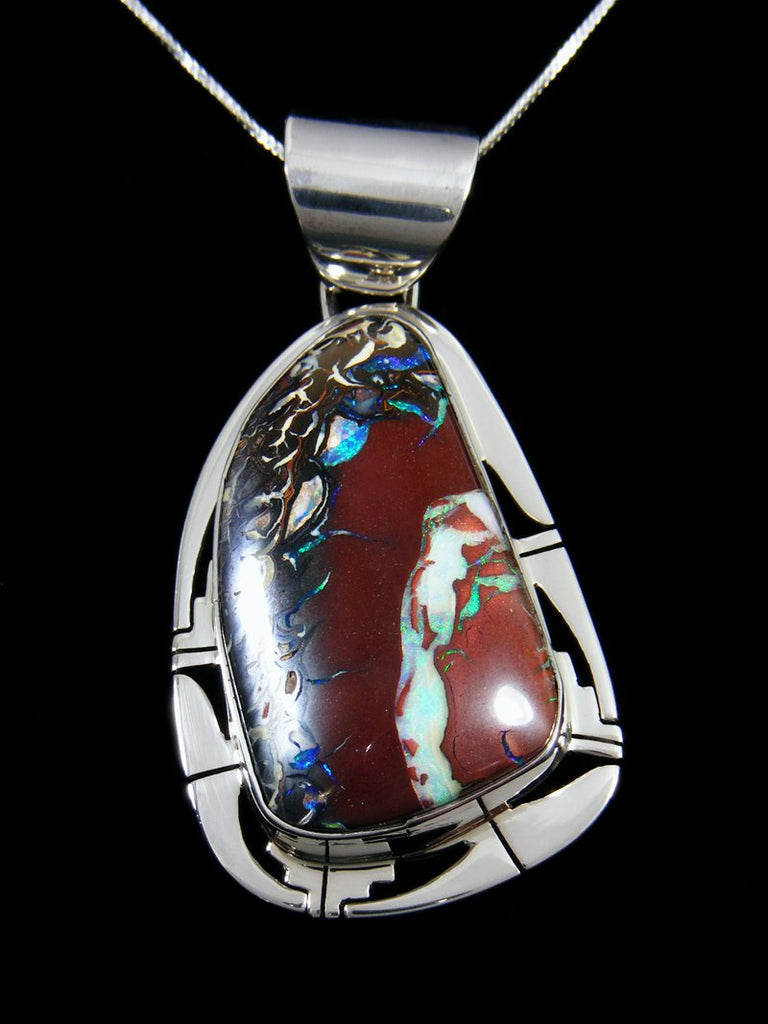 Native Sterling Silver Boulder Opal Pendant