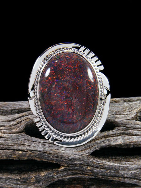 Native American Andamooka Boulder Opal Sterling Silver Ring Size 6 3/4
