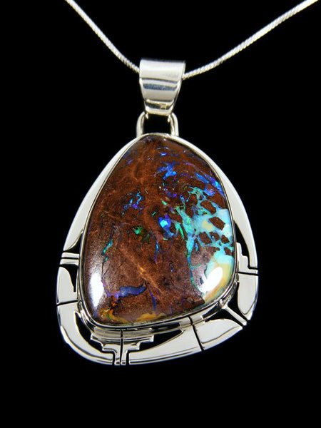 Native American Indian Jewelry Boulder Opal Pendant by Phil Sanchez - PuebloDirect.com