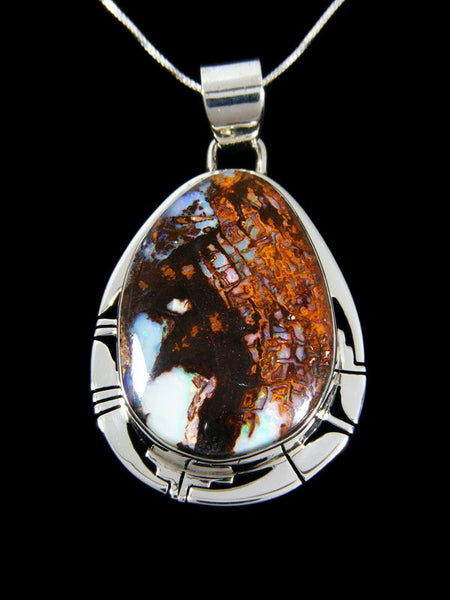 Native American Indian Jewelry Yowah Wood Replacement Boulder Opal Pendant by Phil Sanchez - PuebloDirect.com