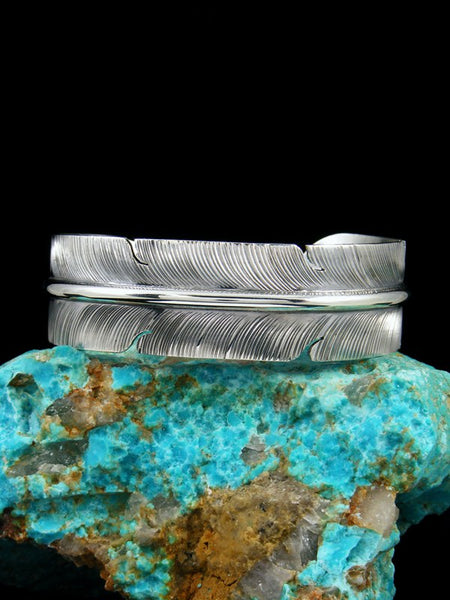 Navajo Sterling Silver Hand Cut Feather Bracelet