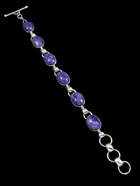 Native American Sterling Silver Charoite Link Bracelet