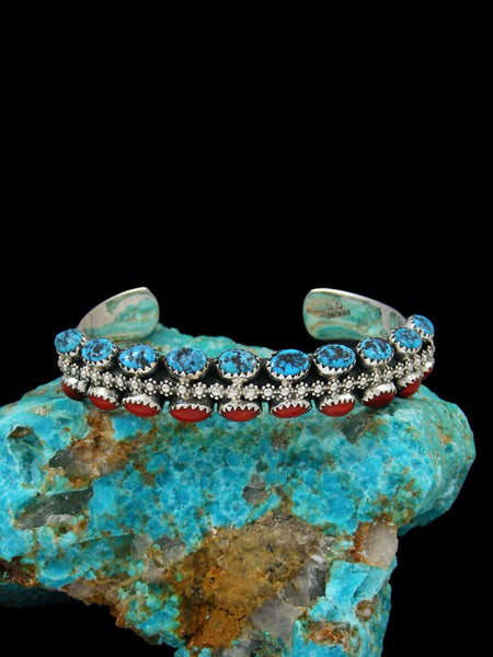 Native American Two Row Turquoise and Coral Bracelet