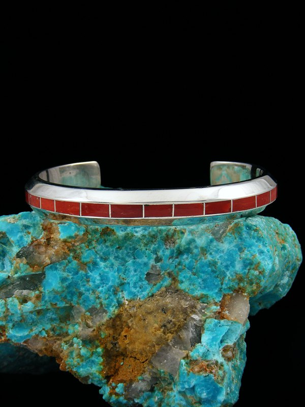 Native American Sterling Coral Inlay Cuff Bracelet