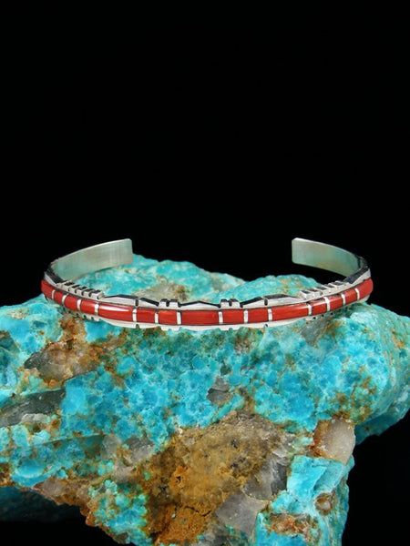 Single Row Sterling Silver Zuni Coral Inlay Bracelet