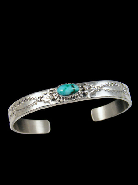 Stamped Sterling Silver Turquoise Bracelet