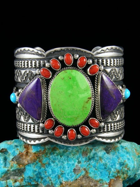 Native American Sterling Silver Coral and Gaspeite Bracelet