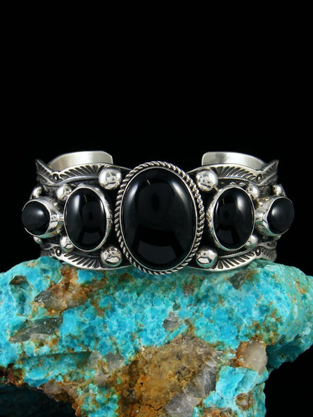 Native American Sterling Silver Black Onyx Cuff Bracelet