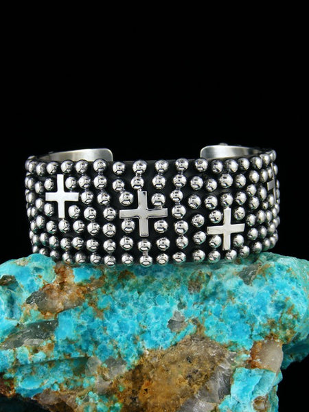 Native American Indian Jewelry Sterling Silver Cross Cuff Bracelet