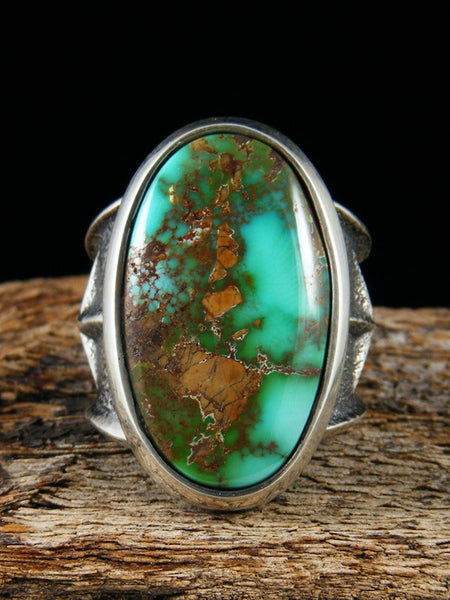 Sterling Silver Tufa Cast Royston Turquoise Ring Size 8