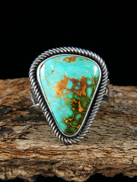 Sterling Silver Tufa Cast Royston Turquoise Ring Size 8.5