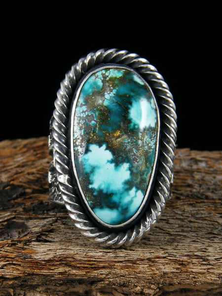 Navajo Tufa Cast Natural Sierra Nevada Turquoise Ring Size 8