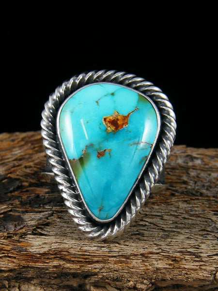 Sterling Silver Tufa Cast Royston Turquoise Ring Size 9