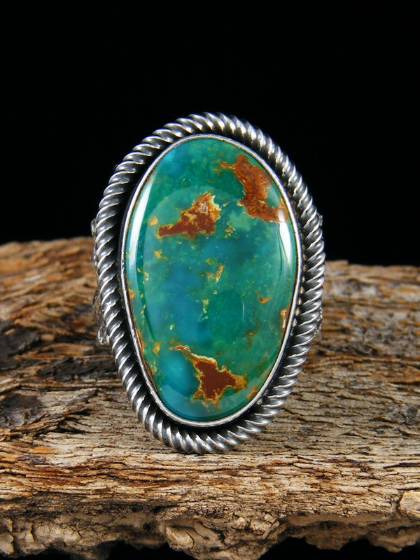 Sterling Silver Tufa Cast Natural Royston Turquoise Ring Size 8