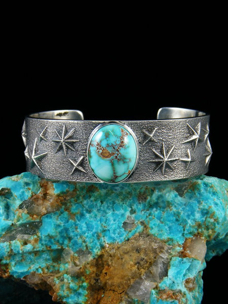 Navajo Tufa Cast Sterling Silver Royston Turquoise Bracelet