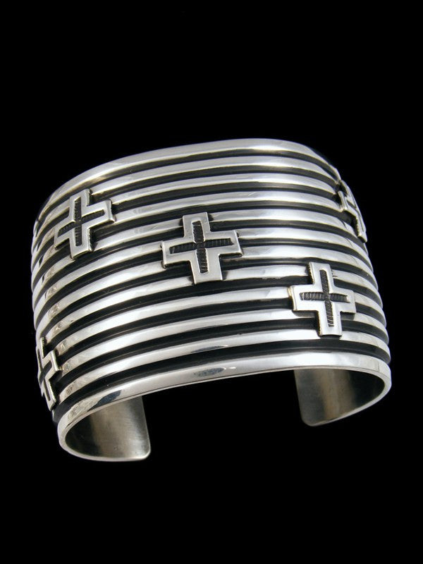 Native American Sterling Silver Cuff Cross Bracelet