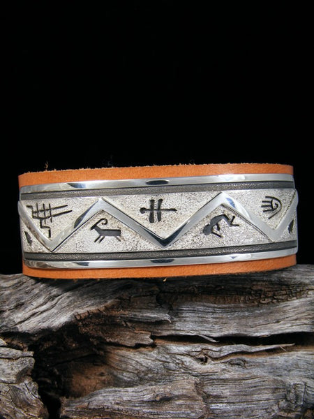 Navajo Sterling Silver Overlay Leather Bracelet