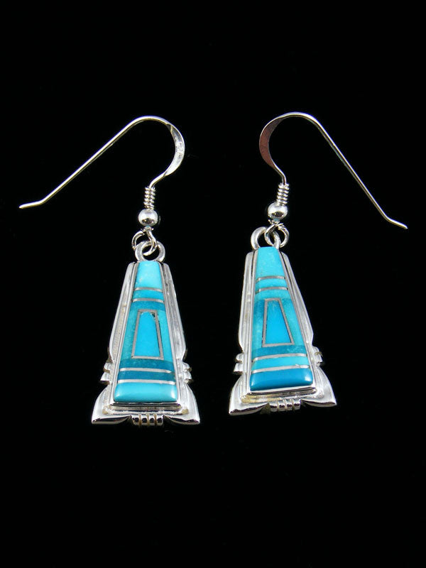Inlay Earrings by Calvin Begay - PuebloDirect.com