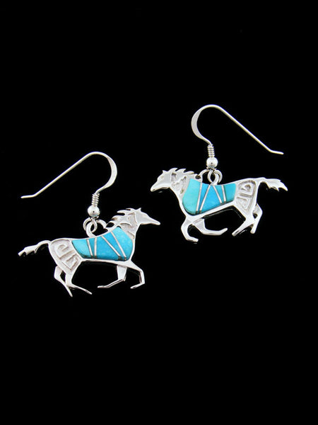 Inlay Horse Earrings by Calvin Begay - PuebloDirect.com