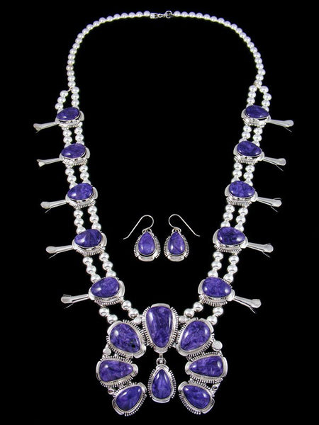 Charoite Sterling Silver Squash Blossom Necklace Set