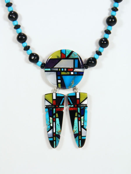 Native American Santo Domingo Inlay Feather Necklace