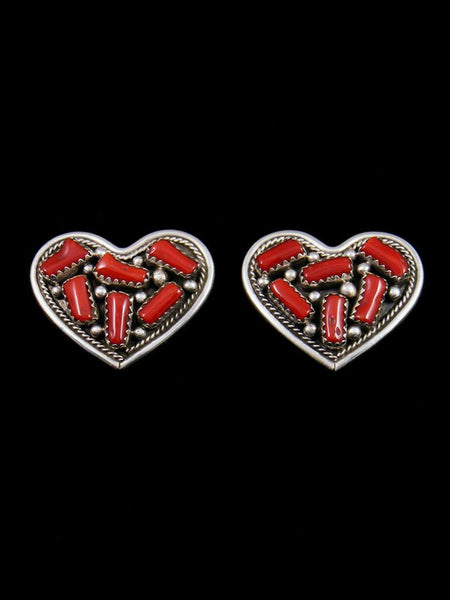 Native American Coral Heart Post Earrings