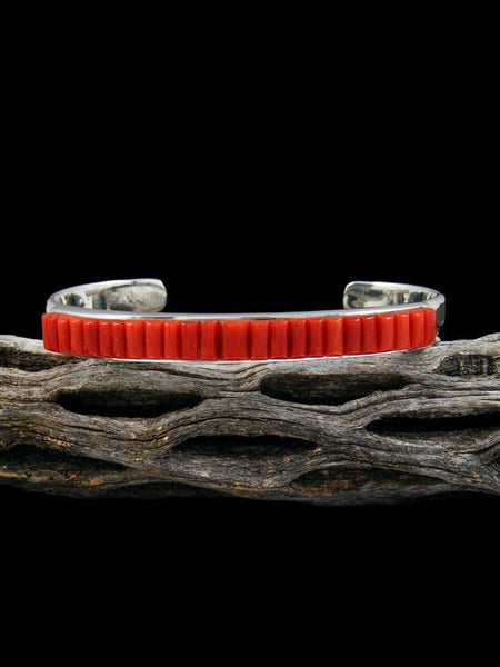 Sterling Silver Coral Cornrow Inlay Bracelet