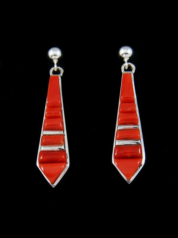 Navajo Red Coral Cobblestone Inlay Earrings