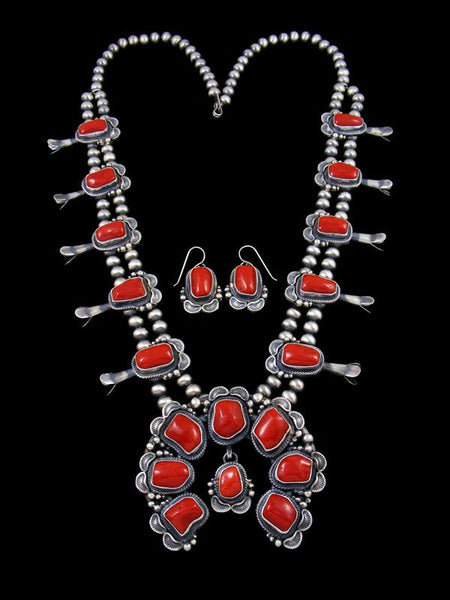 Natural Red Coral Sterling Silver Squash Blossom Necklace Set