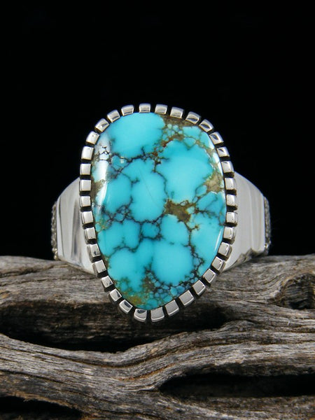 Natural Sierra Nevada Turquoise Sterling Silver Ingot Ring, Size 8