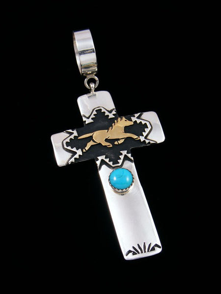 Native American Silver and Gold Overlay Turquoise Cross Pendant