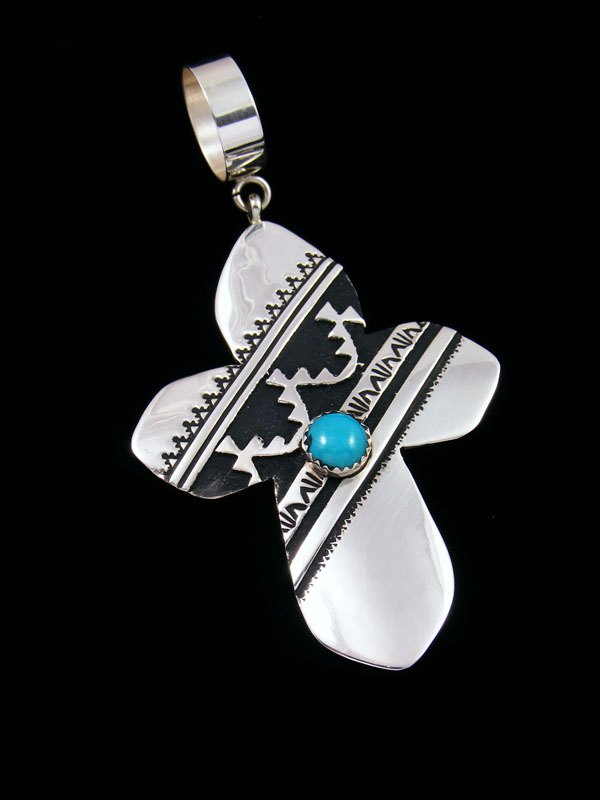 Native American Silver Overlay Turquoise Cross Pendant By Tommy And Rosita Singer At Pueblodirect Com